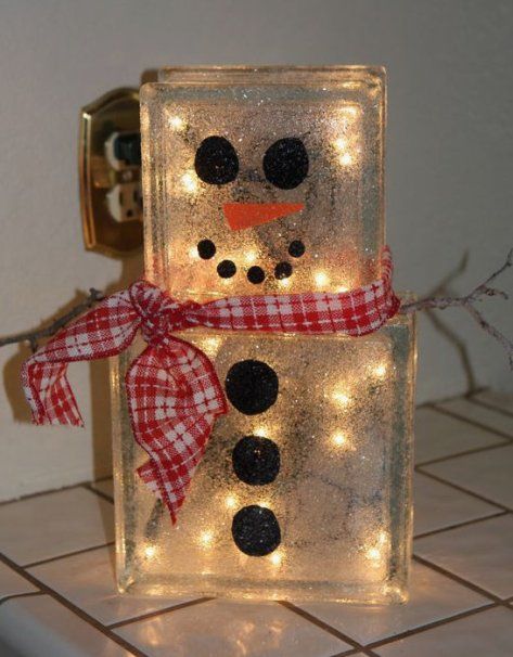DIY Gift Glass Block Snowman