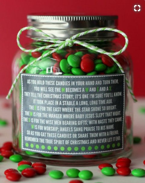 Homemade and DIY Gifts- Christmas m&m poem