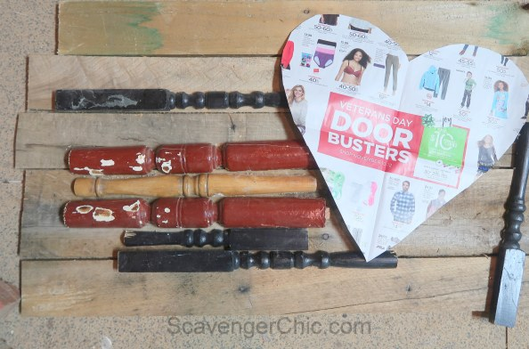 DIY Spindle and Pallet Wood Valentine Heart