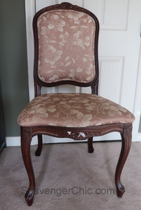 Upholstered French style chair makeover diy