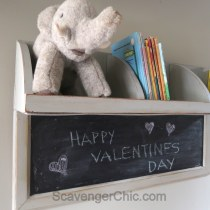 Repurposed Corner Shelf, chalkboard diy