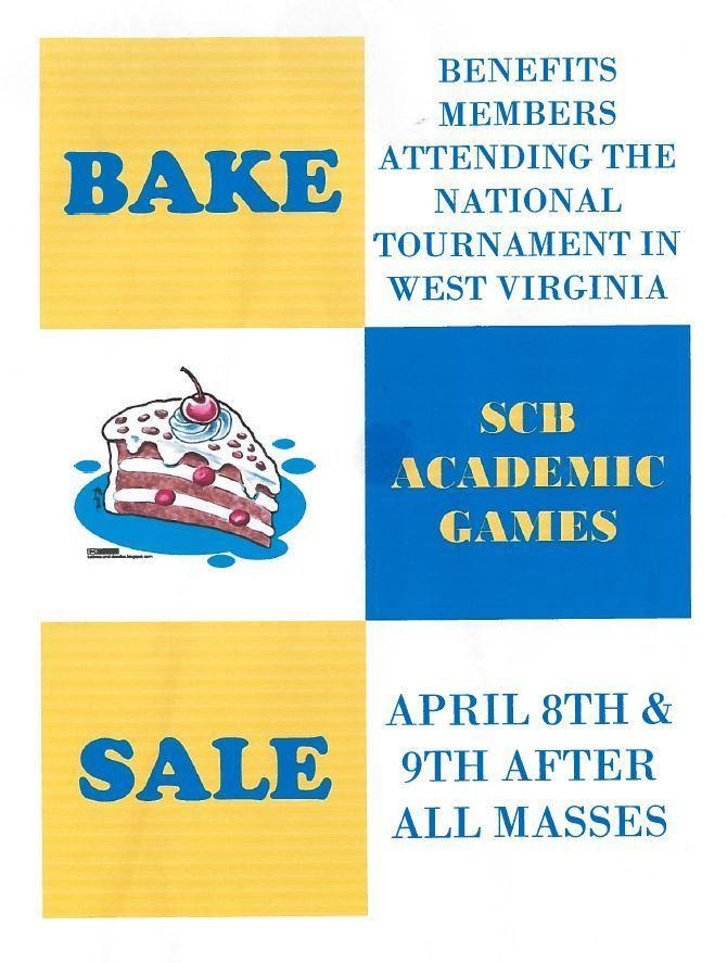 SCB Academic Games Bake Sale (Flyer) - St Charles Borromeo Catholic