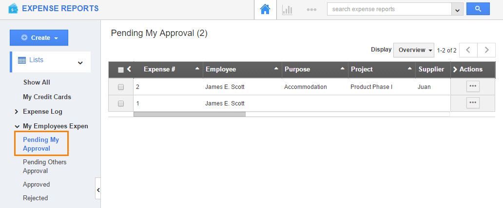 Approval Flows Expense Reports App - Apptivo - expense reports