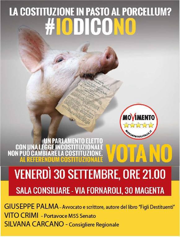 Referendum Costituzionale: venerdì 30 settembre Giuseppe PALMA sarà a Magenta per parlare di RIFORMA COSTITUZIONALE (evento organizzato dal M5S) #IoVotoNO