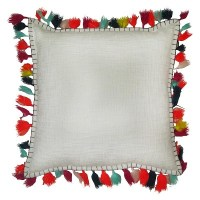 """Threshold Solid Pillow With Tassel 18""""X18"""" ( Ac... : Target"""