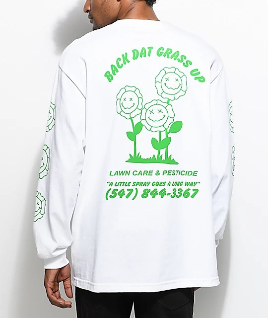 A-Lab Dat Grass Long Sleeve White T-Shirt Zumiez