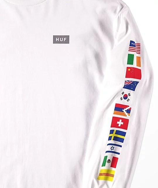 HUF Flags White Long Sleeve T-Shirt Zumiez