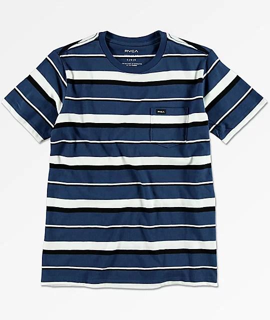 RVCA Boys Danron Blue Pocket T-Shirt Zumiez