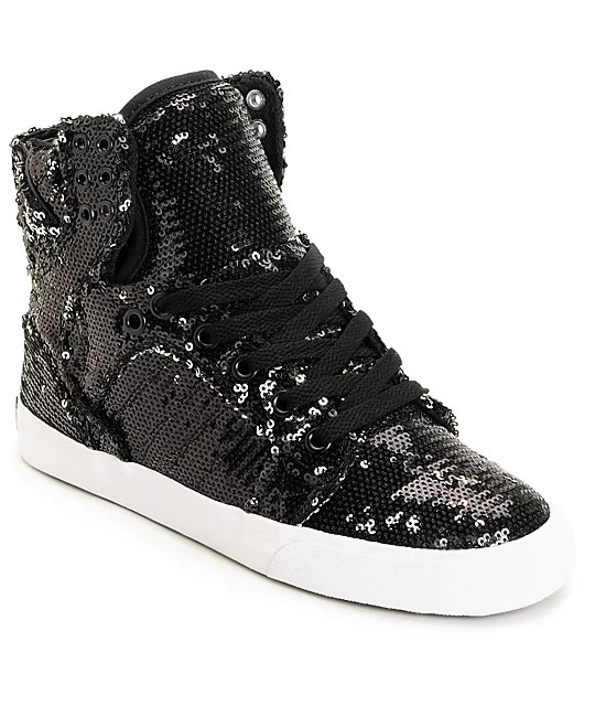 Www Check 24 Supra X A-morir Womens Skytop Black Sequin Shoe At Zumiez