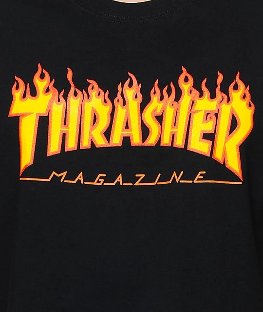 Thrasher Flame Logo Black T-Shirt Zumiez - flame logo