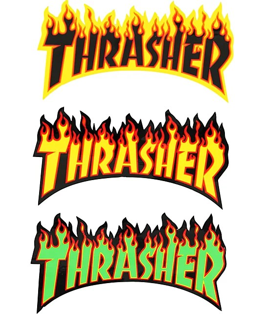 Thrasher Flame Logo Sticker Zumiez - flame logo