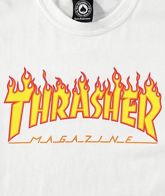 Thrasher Flame Logo White T-Shirt Zumiez - flame logo