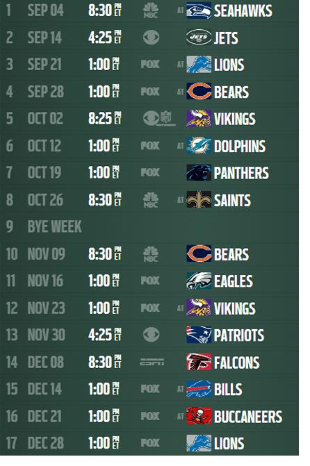 printable weekly nfl schedule