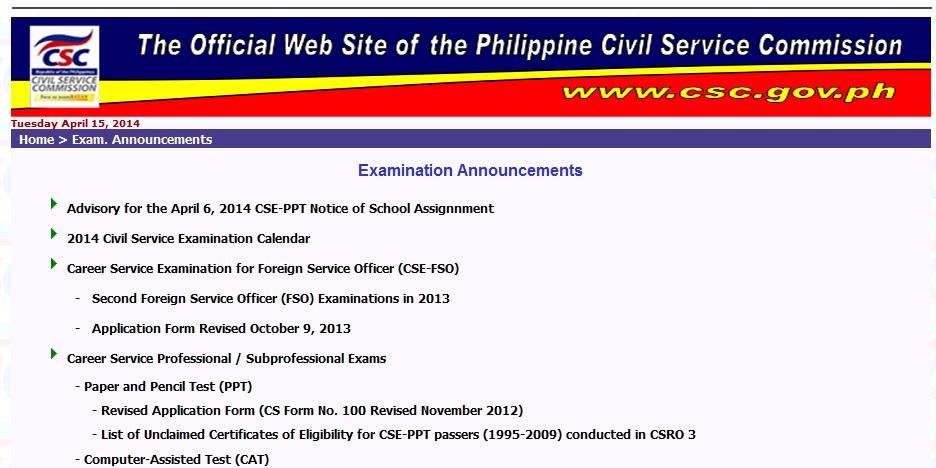 Schedule of Civil Service Exam 2014 - Home - civil service exam application form