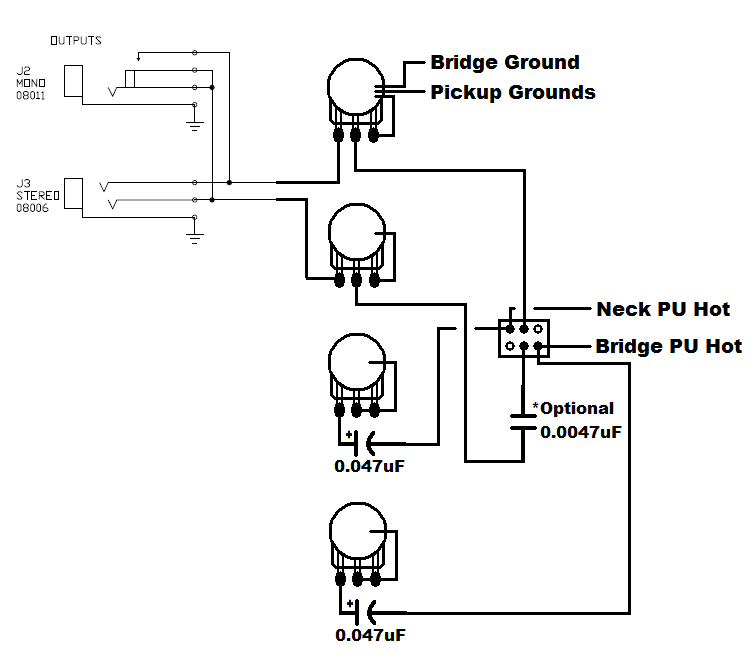 guitar jack wiring diagram stereo