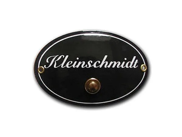 Oval Enamel Name Plate With Your Name 1 Zeilig With Bell - Emaille Namensschild