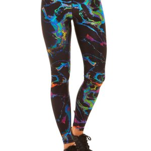 Description Terez Black Oil Spill Leggings cuz even in the dark yew shine, bb. These sikk leggings feature a thick banded waist, a curve-huggin' fit, and a multi-colored oil spill print all over. Product Details 80% Polyester, 20% Spandex Hand Wash Cold