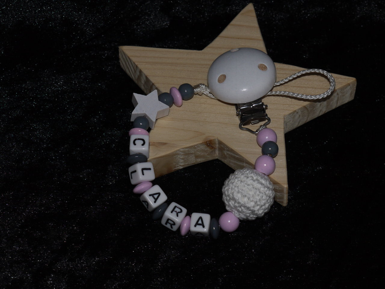 Baby Namen Rosa Dummy Chain Name Star Crochet Pearl Pink