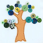 Kid's Hand Sewn Button Tree