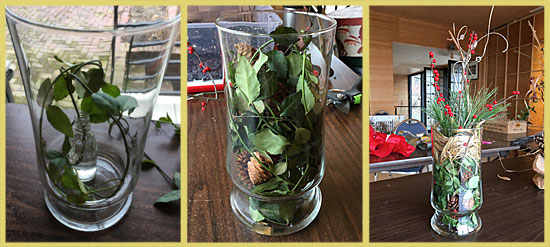 Holiday party centerpiece made with donated and natural materials