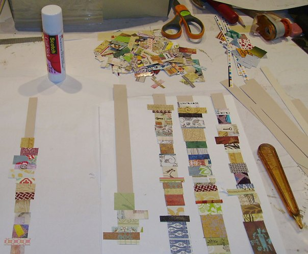 Gluing paper scraps onto the cardstock strips