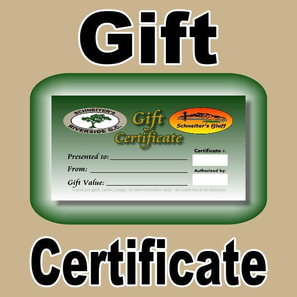 Gift Certificate Schneiter\u0027s Golf