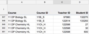 Format your Course Roster file like this