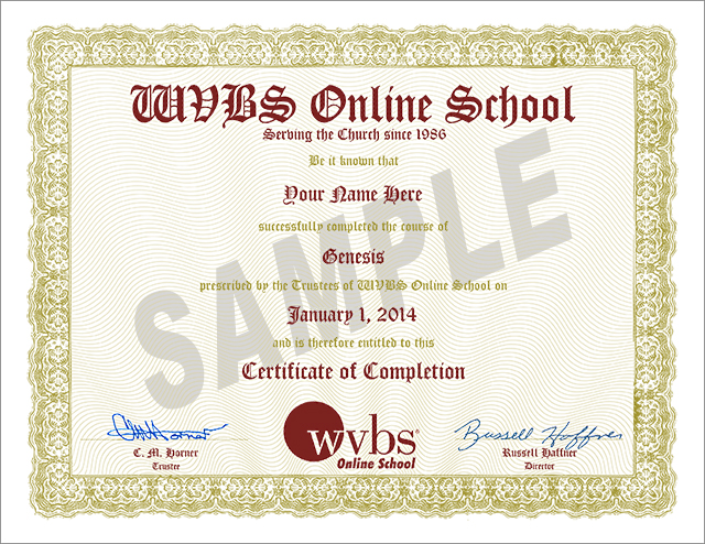 Frequently Asked Questions (FAQ) WVBS Online School - sample school certificate