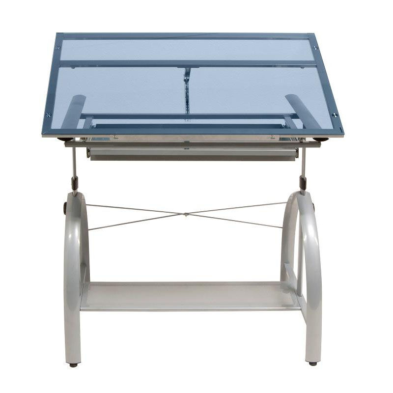 Adjustable Height Drafting Table Avanta Blue Tempered Glass And Steel Height Adjustable Drafting Table With Adjustable Angle Top Silver