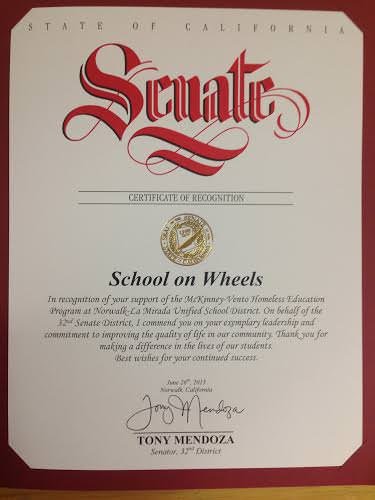 Certificate of Recognition - State of California School on Wheels