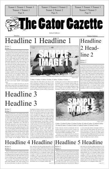newspaper first page template