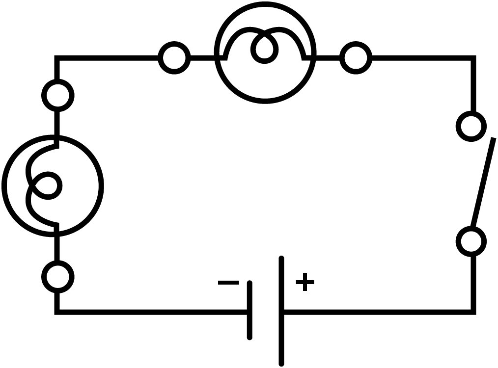 in a series circuit the current is the same along