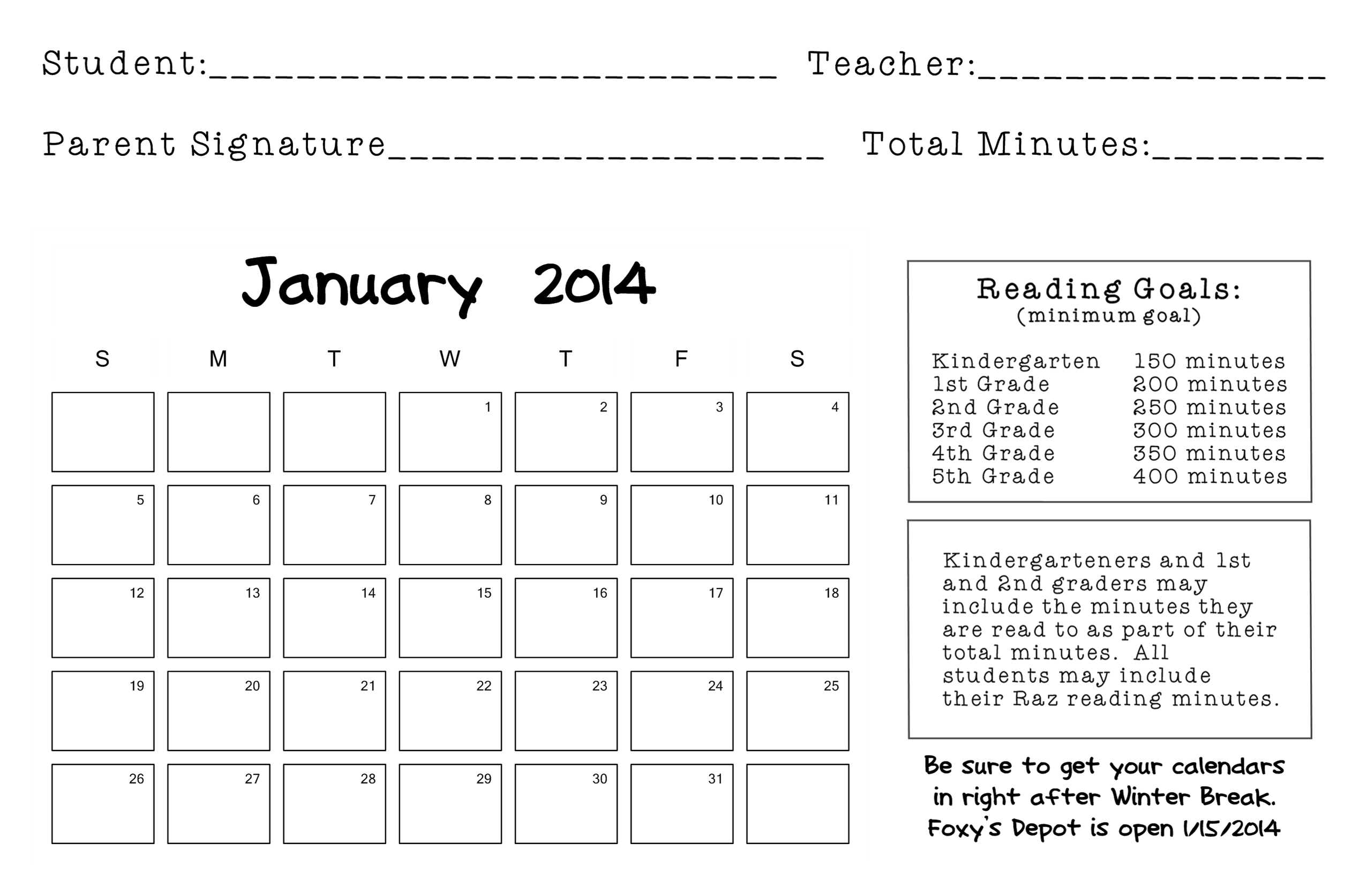 Elementary Reading Logs For Students
