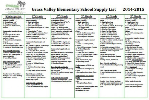 School Supply List Grass Valley Elementary