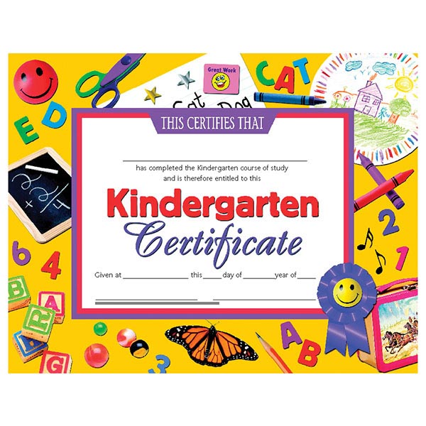 30 pk - VA701 Kindergarten Certificates - 8 1/2\