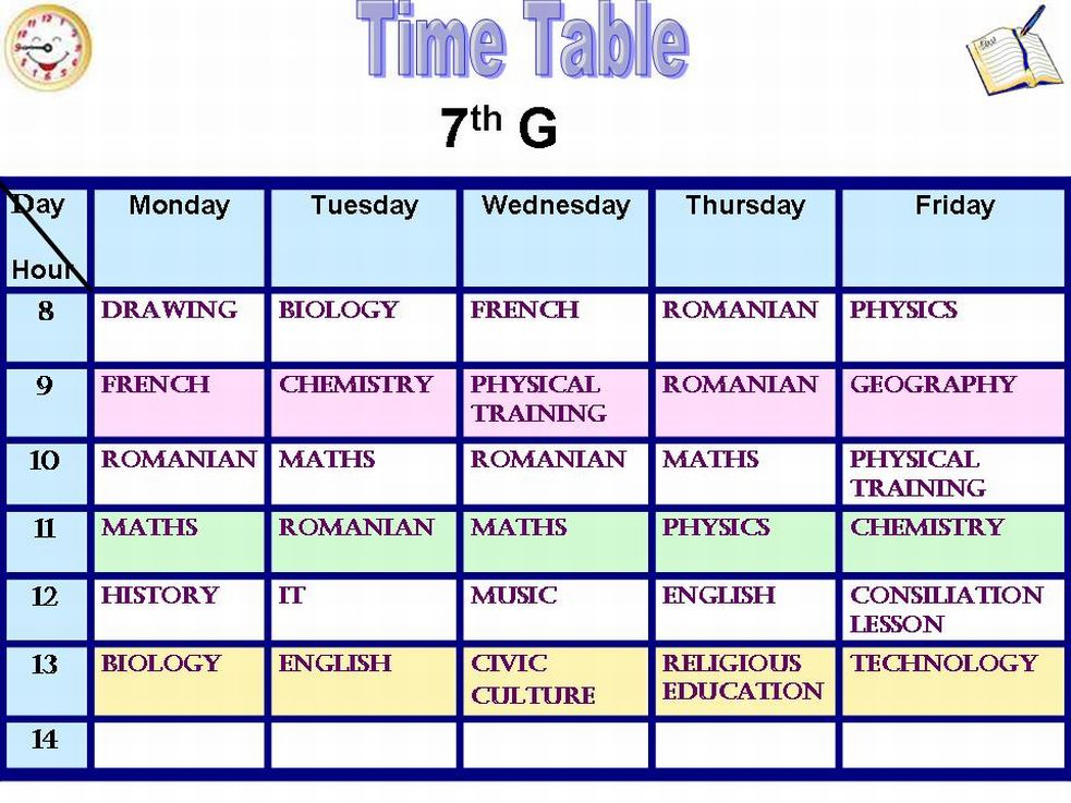 Subjects in the Romanian Timetable Europeanschool - study timetable