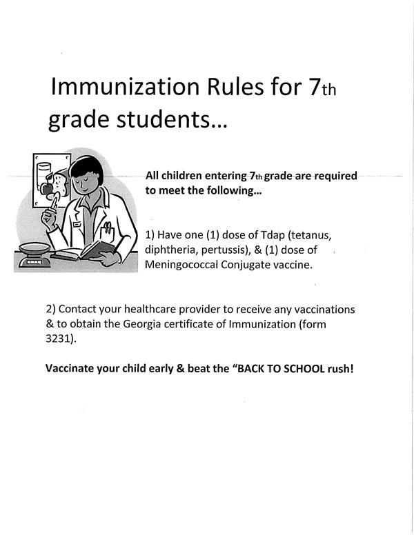 Clinic  Medical Forms / Required Immunizations - 7th Grade