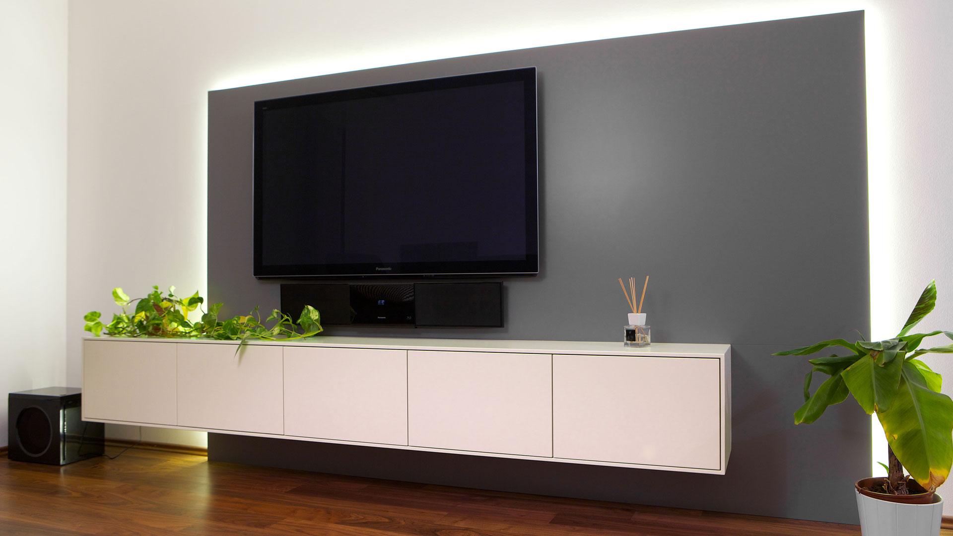 Wandgestaltung Wohnzimmer Braune Möbel