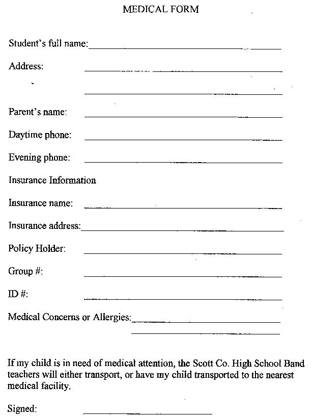 Medical Form Medical Release Example Form For Child Medical Release - School Medical Form