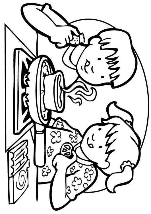 ausmalbilder kochen küche  koch mit keuel ausmalbild
