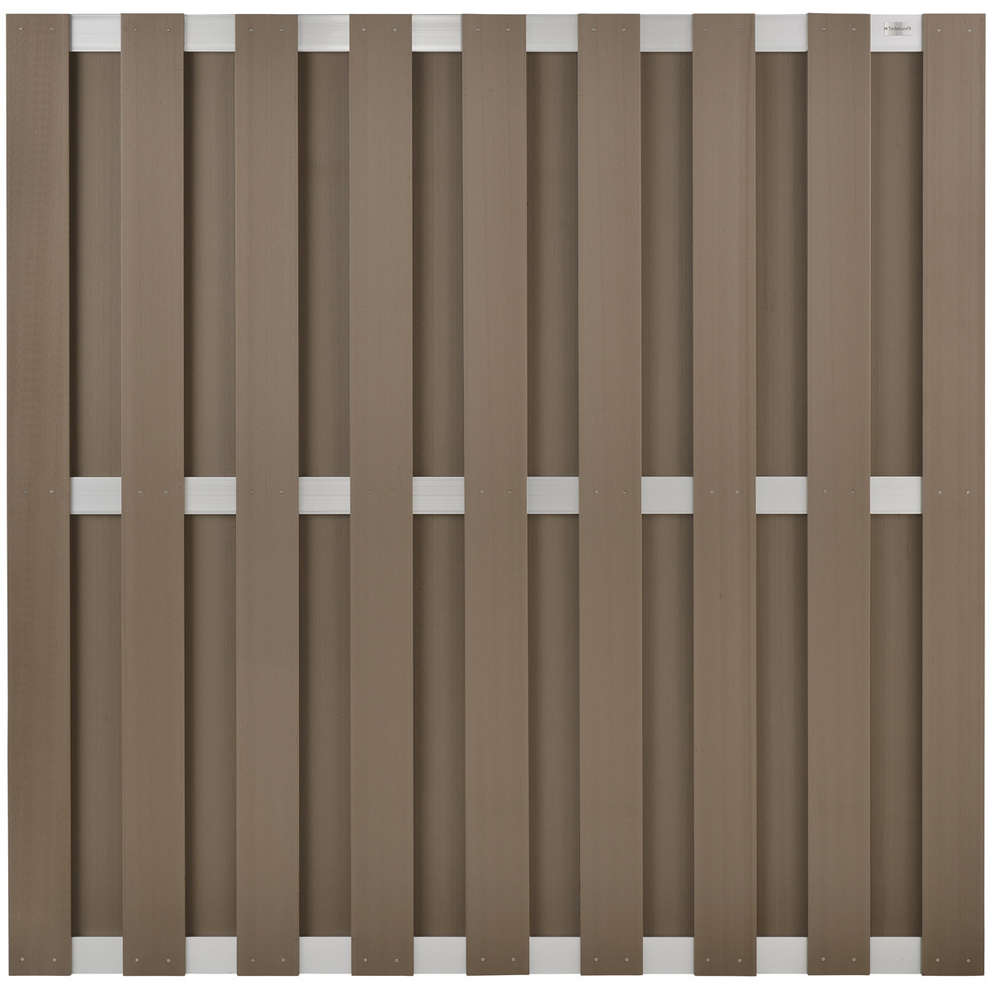 Schuttingen Composiet Design Tuinscherm 180x180cm Brown Composiet Blank Aluminium Frame