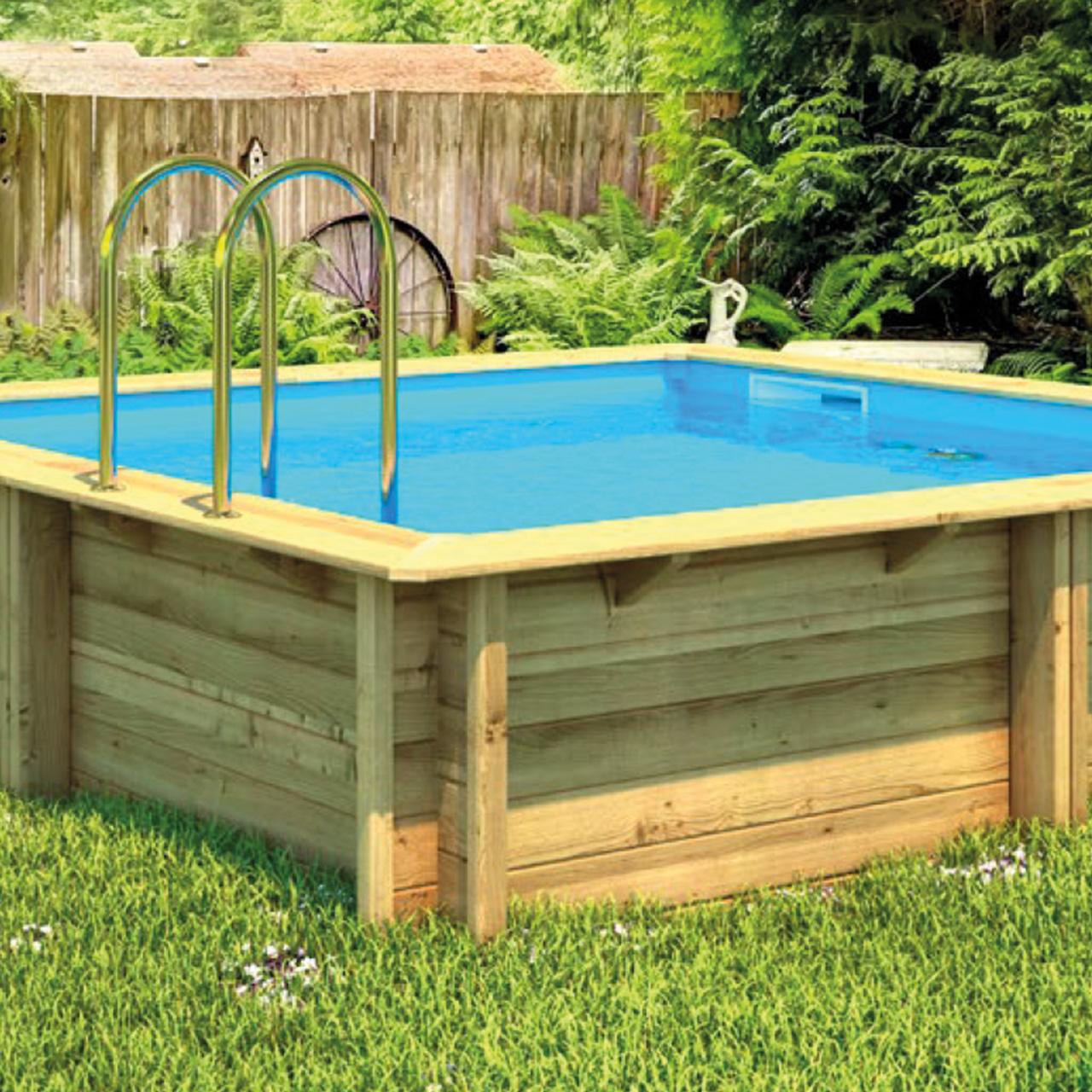 Gfk Pool Teilversenkt Weva Holzbecken Fkb Schwimmbadtechnik