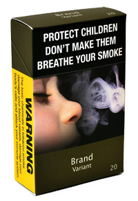 Plain, standardised cigarette pack