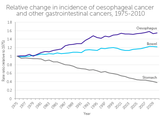 Change in gastrointestinal cancers, 1975-2010