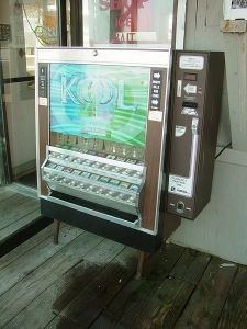 A cigarette vending machine