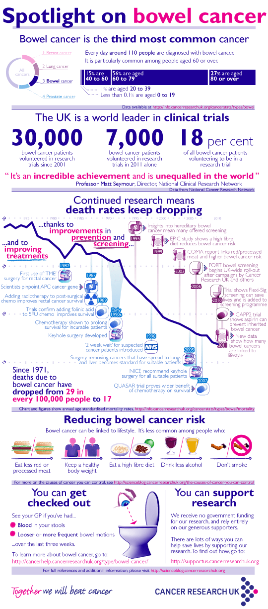 A detailed infographic about bowel cancer