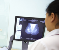 Mammogram on screen