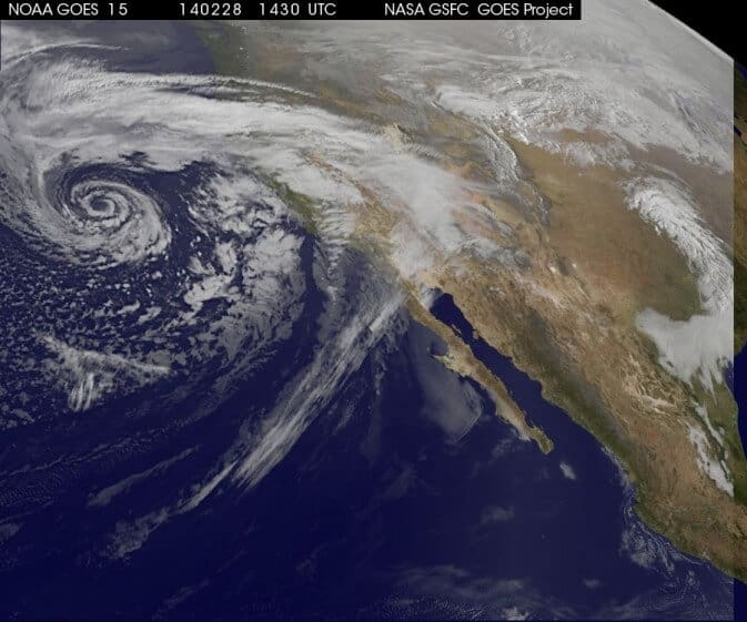 NASA Satellite Eyes Soggy Storm Approaching California