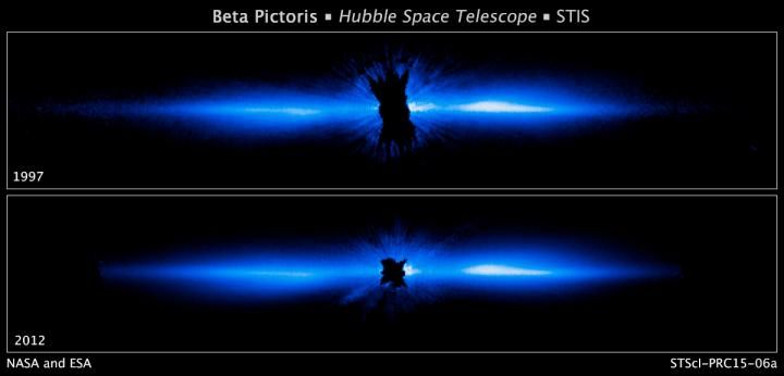 Hubble gets best view of circumstellar debris disk distorted by planet