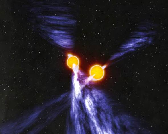 Künstlerische Konzeption eines Doppelpulsars (Quelle: John Rowe Animations/CSIRO Astronomy and Space Science)